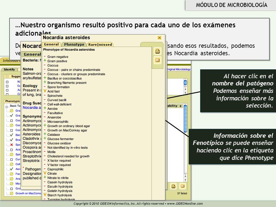 Copyright © 2010 GIDEON Informatics, Inc. All rights reserved www.GIDEONonline.com MÓDULO DE MICROBIOLOGÍA Al hacer clic en el nombre del patógeno Pod