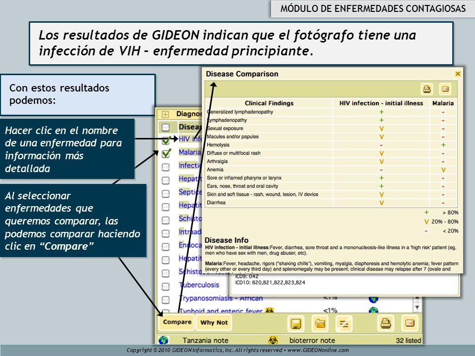 Los resultados de GIDEON indican que el fotógrafo tiene una infección de VIH – enfermedad principiante. Con estos resultados podemos: Copyright © 2010