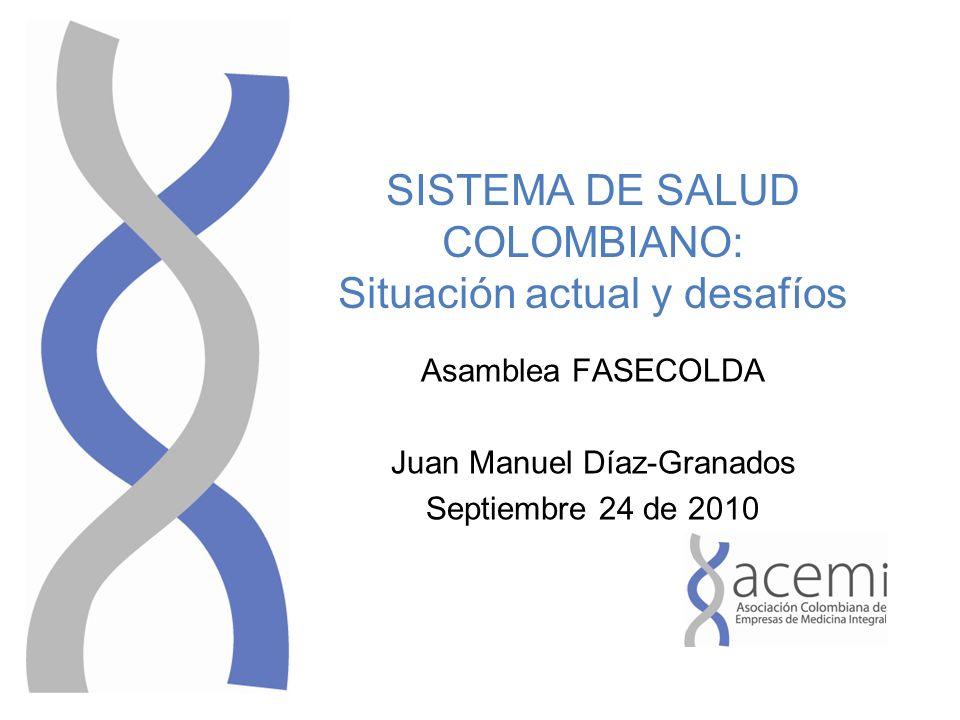 SISTEMA DE SALUD COLOMBIANO: Situación actual y desafíos Asamblea FASECOLDA Juan Manuel Díaz-Granados Septiembre 24 de 2010