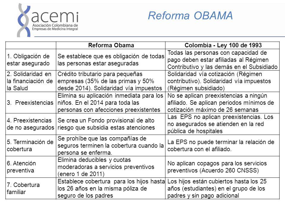 Reforma OBAMA Reforma ObamaColombia - Ley 100 de 1993 1. Obligación de estar asegurado Se establece que es obligación de todas las personas estar aseg