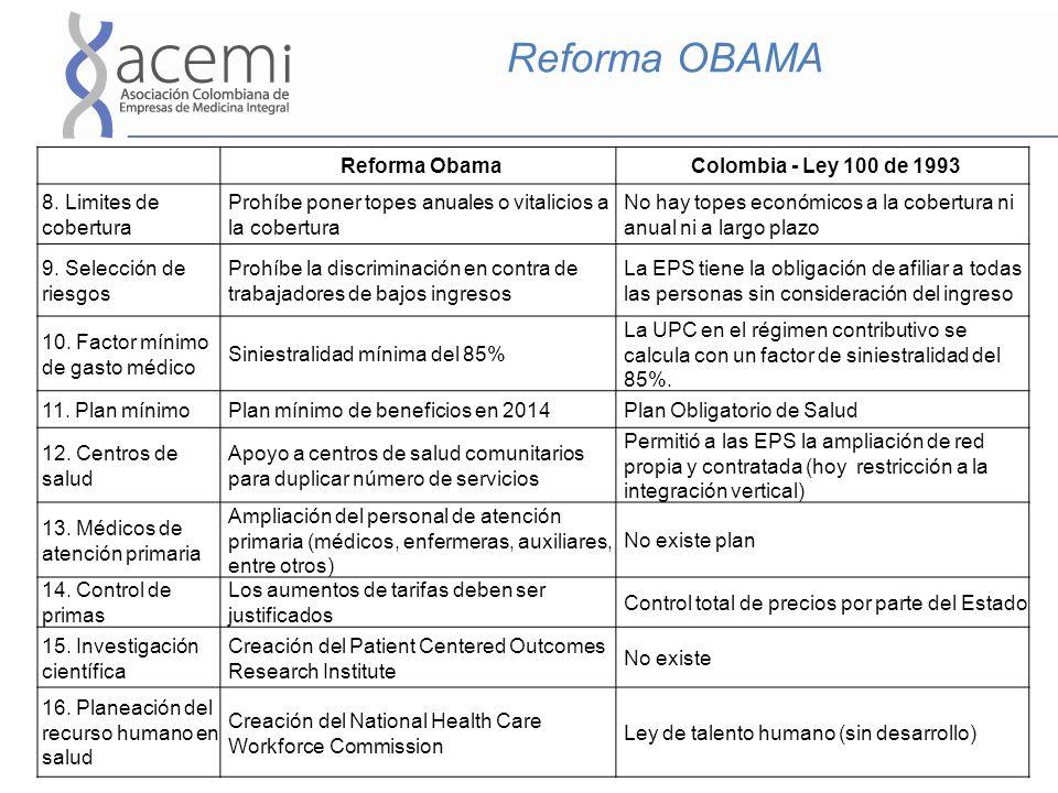 Reforma OBAMA Reforma ObamaColombia - Ley 100 de 1993 8. Limites de cobertura Prohíbe poner topes anuales o vitalicios a la cobertura No hay topes eco