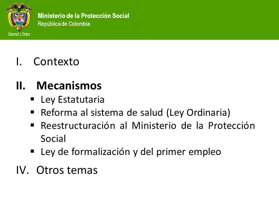 Ministerio de la Protección Social República de Colombia I.Contexto II.