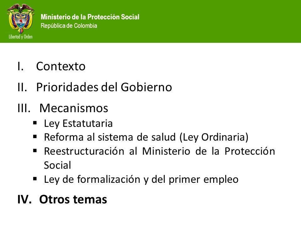 Ministerio de la Protección Social República de Colombia I.Contexto II.Prioridades del Gobierno III.