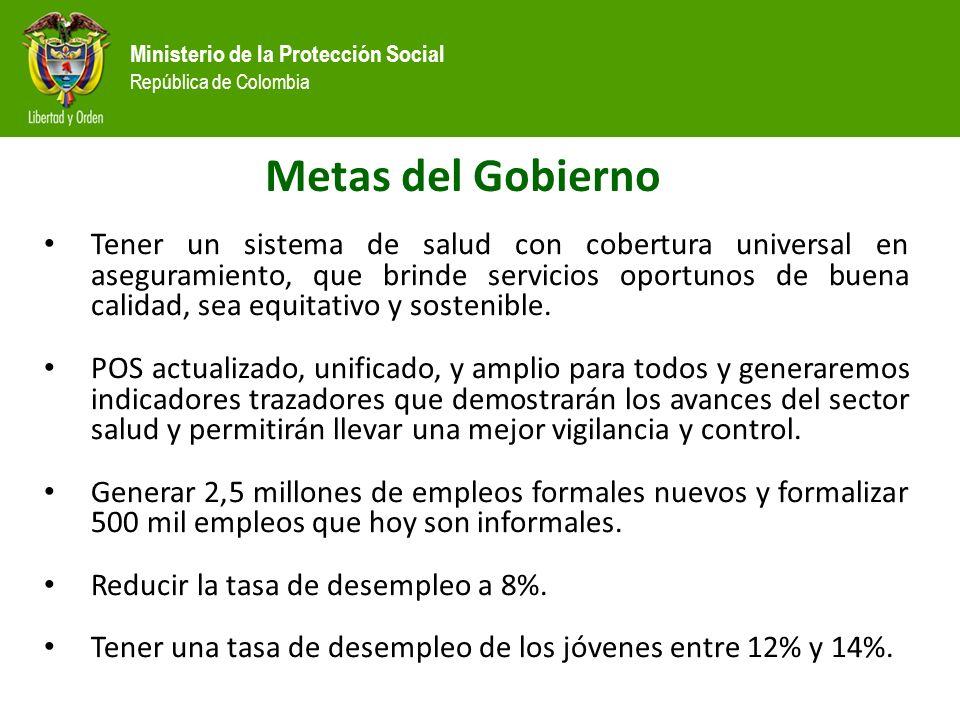 Ministerio de la Protección Social República de Colombia Metas del Gobierno Tener un sistema de salud con cobertura universal en aseguramiento, que brinde servicios oportunos de buena calidad, sea equitativo y sostenible.