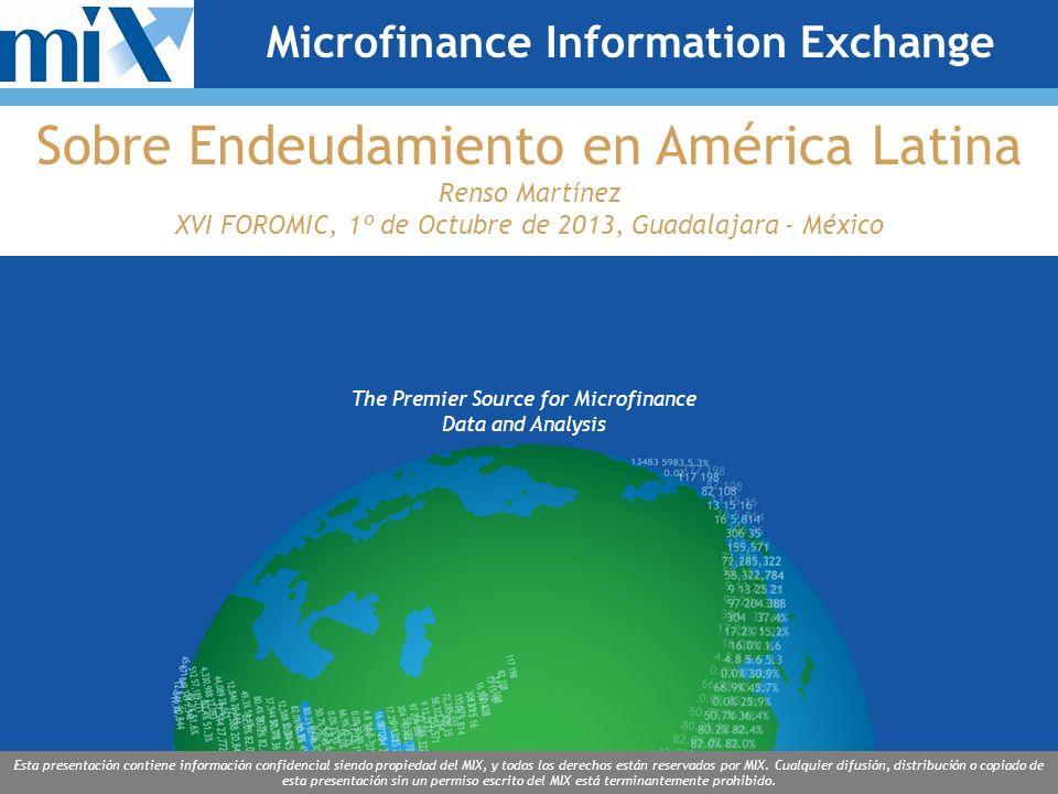 The Premier Source for Microfinance Data and Analysis Esta presentación contiene información confidencial siendo propiedad del MIX, y todos los derechos están reservados por MIX.