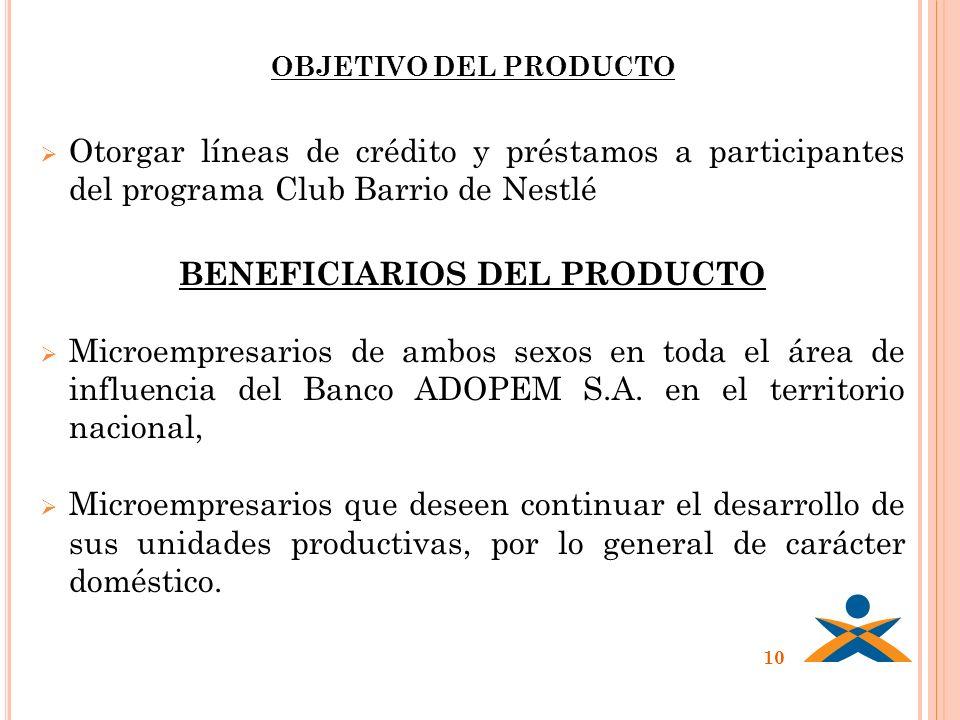 OBJETIVO DEL PRODUCTO Otorgar líneas de crédito y préstamos a participantes del programa Club Barrio de Nestlé BENEFICIARIOS DEL PRODUCTO Microempresa