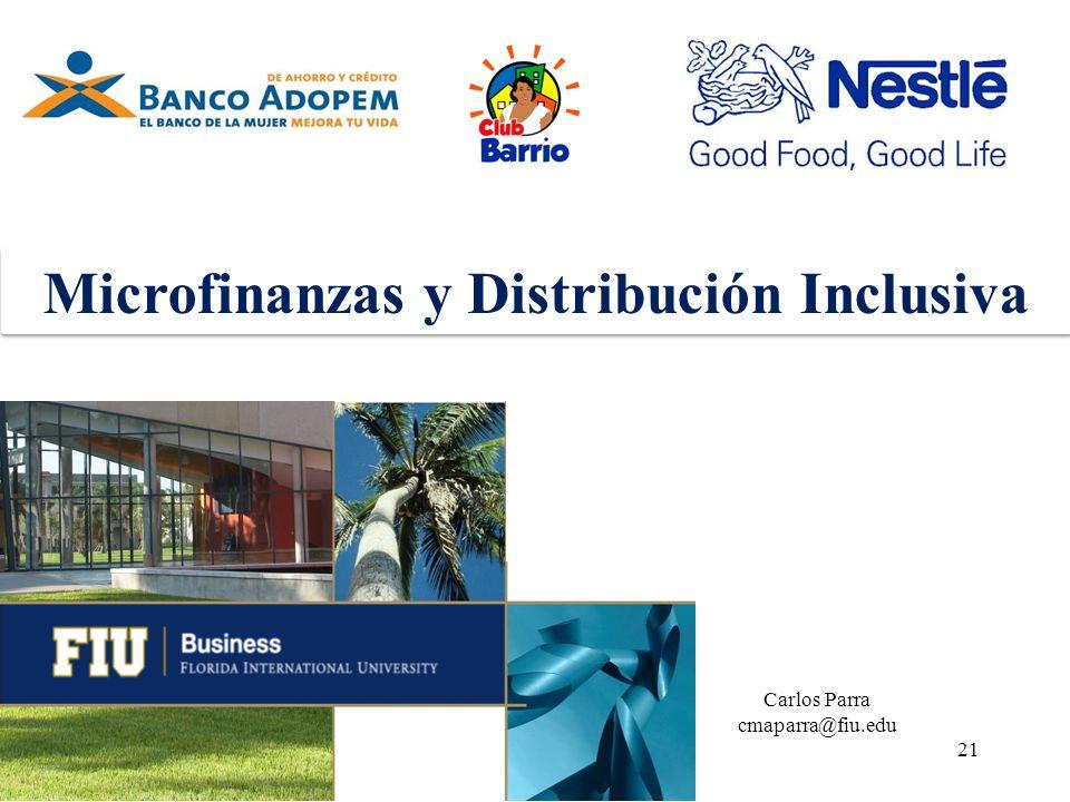 21 Microfinanzas y Distribución Inclusiva Carlos Parra cmaparra@fiu.edu