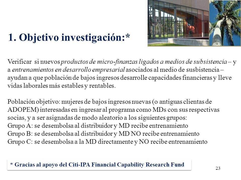 1. Objetivo investigación:* 23 Verificar si nuevos productos de micro-finanzas ligados a medios de subsistencia – y a entrenamientos en desarrollo emp
