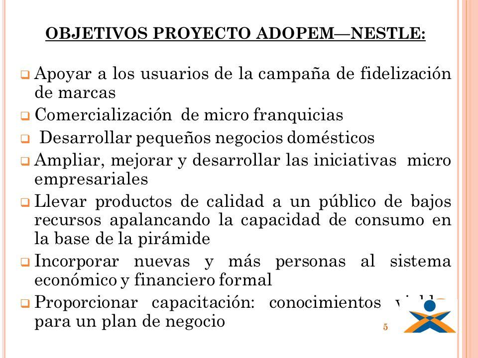 OBJETIVOS PROYECTO ADOPEMNESTLE: Apoyar a los usuarios de la campaña de fidelización de marcas Comercialización de micro franquicias Desarrollar peque