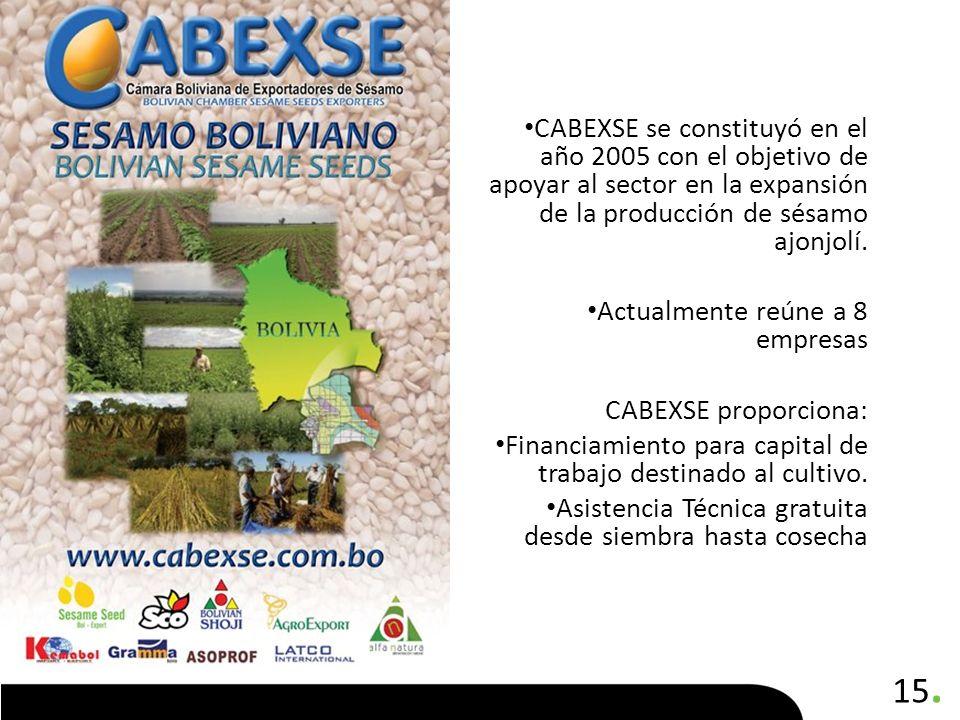 15. CABEXSE se constituyó en el año 2005 con el objetivo de apoyar al sector en la expansión de la producción de sésamo ajonjolí. Actualmente reúne a