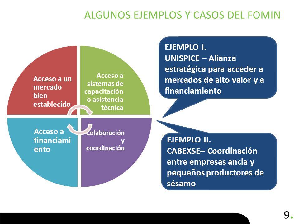 9.9. ALGUNOS EJEMPLOS Y CASOS DEL FOMIN Acceso a un mercado bien establecido Acceso a sistemas de capacitación o asistencia técnica Colaboración y coo