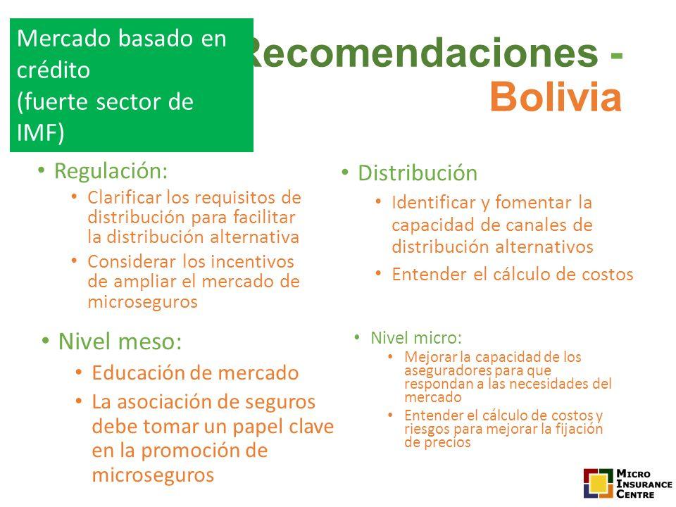 Regulación: Clarificar los requisitos de distribución para facilitar la distribución alternativa Considerar los incentivos de ampliar el mercado de mi
