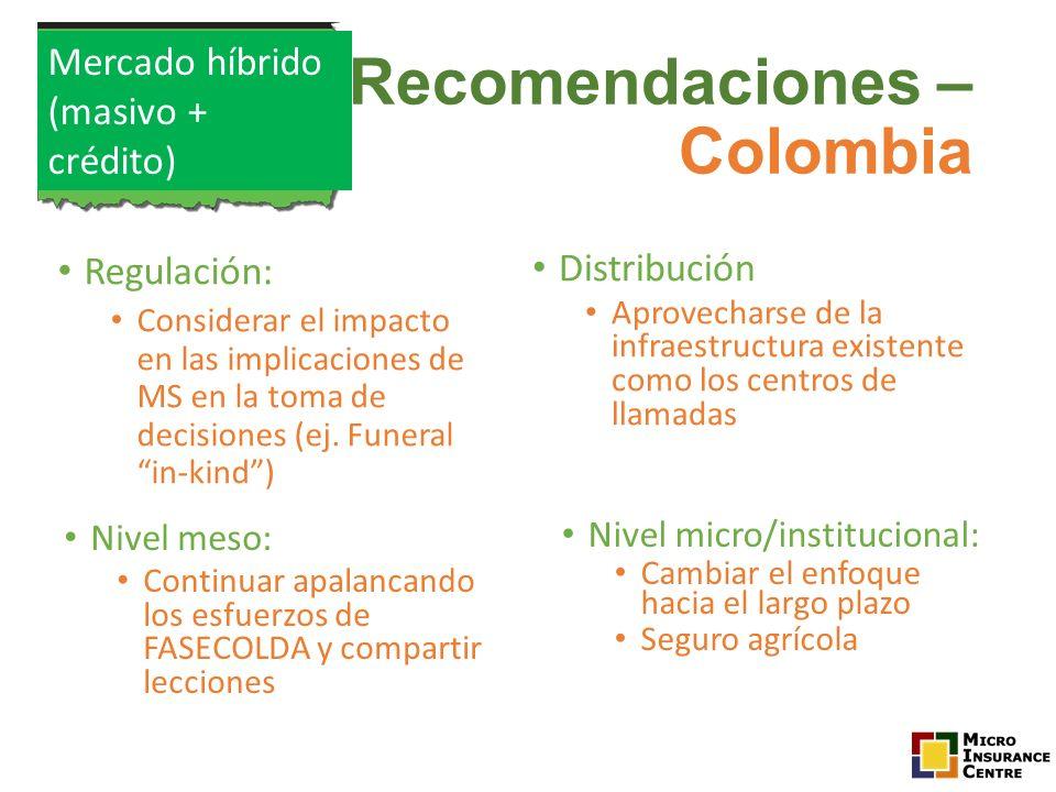 Recomendaciones – Colombia Regulación: Considerar el impacto en las implicaciones de MS en la toma de decisiones (ej. Funeral in-kind) Distribución Ap
