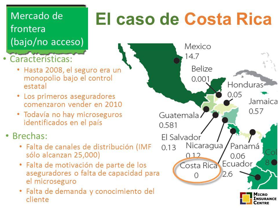 El caso de Costa Rica Brechas: Falta de canales de distribución (IMF sólo alcanzan 25,000) Falta de motivación de parte de los aseguradores o falta de