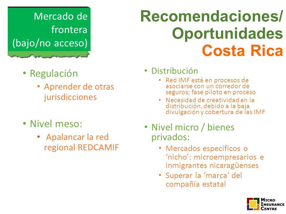 Regulación Aprender de otras jurisdicciones Distribución Red IMF está en procesos de asociarse con un corredor de seguros; fase piloto en proceso Nece
