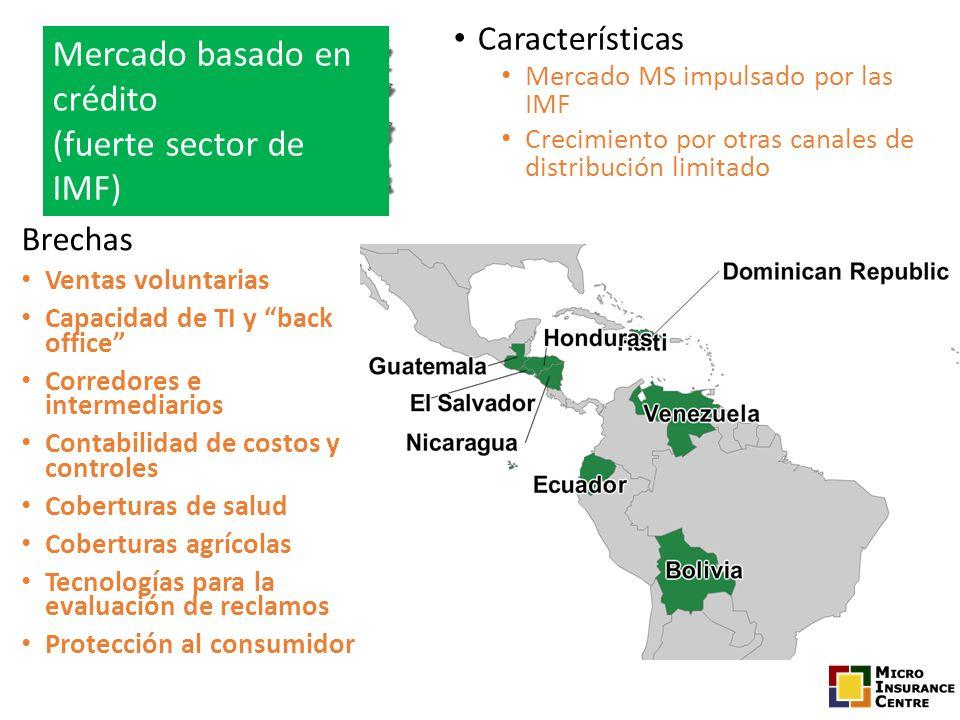Características Mercado MS impulsado por las IMF Crecimiento por otras canales de distribución limitado Brechas Ventas voluntarias Capacidad de TI y b