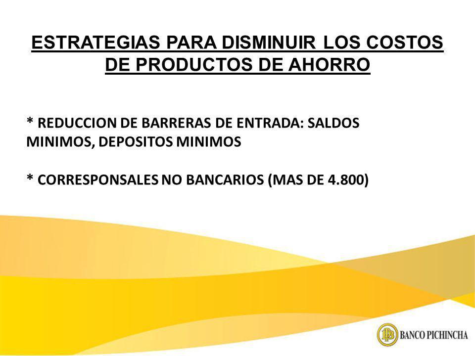 * REDUCCION DE BARRERAS DE ENTRADA: SALDOS MINIMOS, DEPOSITOS MINIMOS * CORRESPONSALES NO BANCARIOS (MAS DE 4.800) ESTRATEGIAS PARA DISMINUIR LOS COST