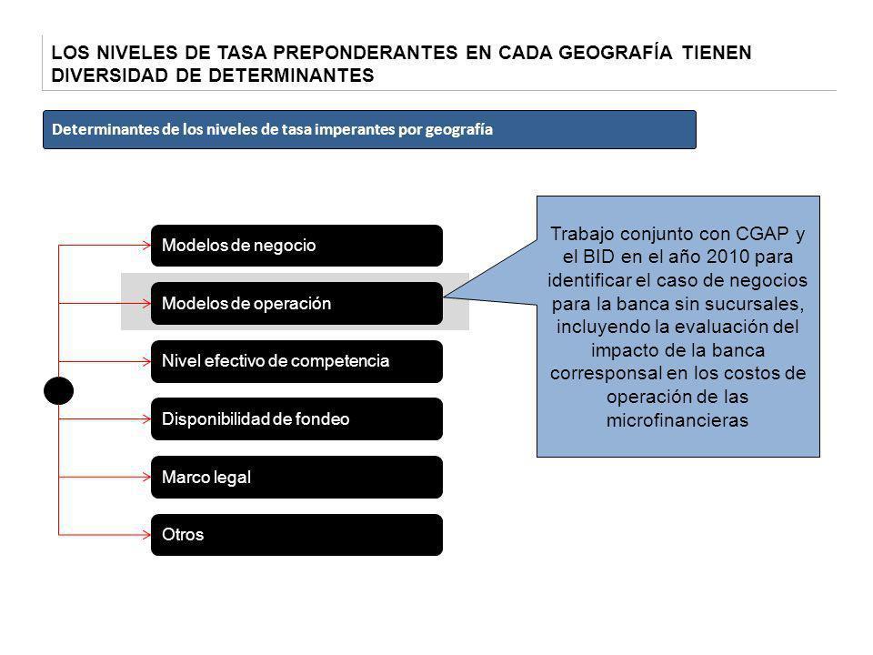 LOS NIVELES DE TASA PREPONDERANTES EN CADA GEOGRAFÍA TIENEN DIVERSIDAD DE DETERMINANTES Modelos de negocio Nivel efectivo de competencia Disponibilida