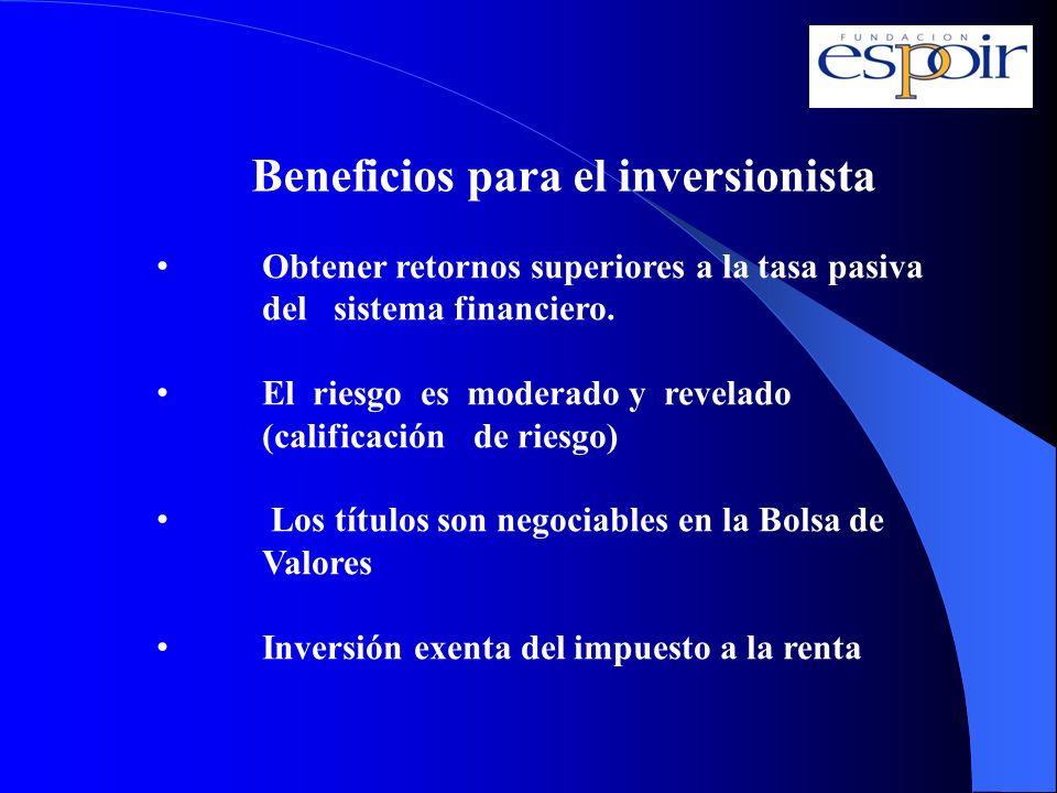 Beneficios para el inversionista Obtener retornos superiores a la tasa pasiva del sistema financiero. El riesgo es moderado y revelado (calificación d