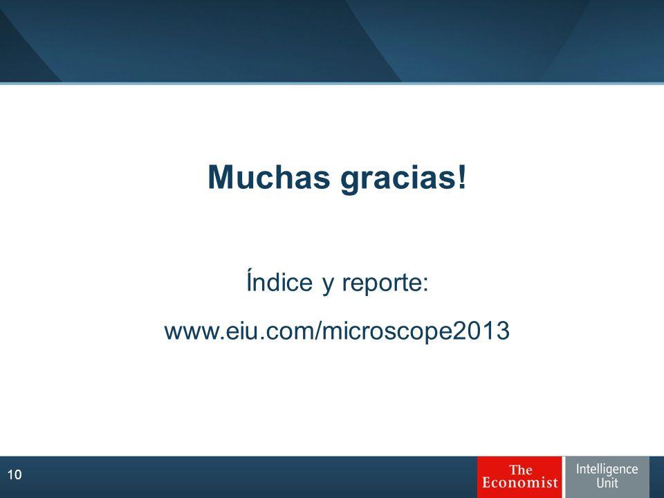 10 Muchas gracias! Índice y reporte: www.eiu.com/microscope2013