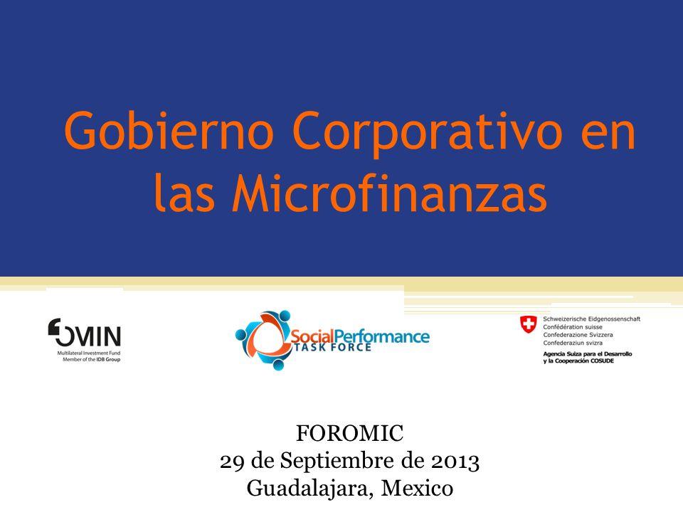 Gobierno Corporativo en las Microfinanzas FOROMIC 29 de Septiembre de 2013 Guadalajara, Mexico