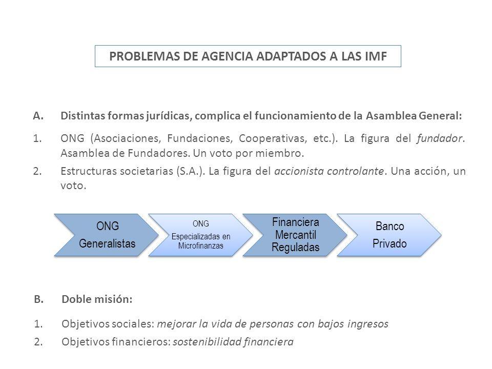 A.Distintas formas jurídicas, complica el funcionamiento de la Asamblea General: 1.ONG (Asociaciones, Fundaciones, Cooperativas, etc.). La figura del