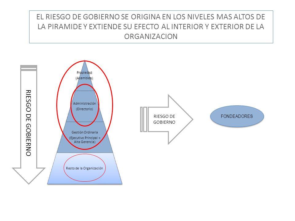 Propiedad (Asamblea) Administración (Directorio) Gestión Ordinaria (Ejecutivo Principal + Alta Gerencia) Resto de la Organización EL RIESGO DE GOBIERN