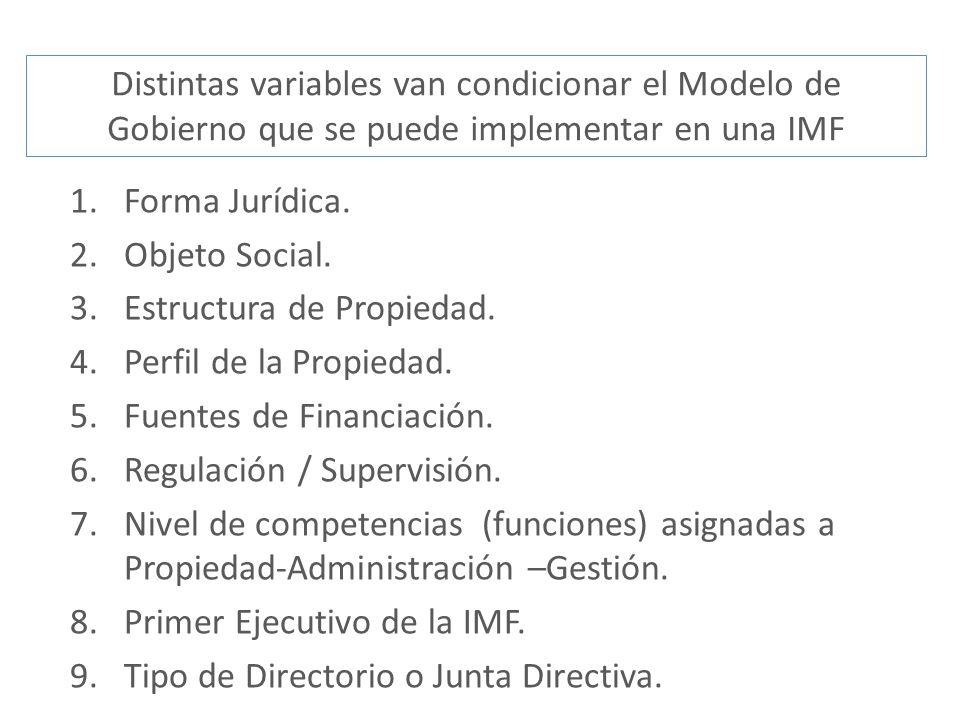 1.Forma Jurídica. 2.Objeto Social. 3.Estructura de Propiedad. 4.Perfil de la Propiedad. 5.Fuentes de Financiación. 6.Regulación / Supervisión. 7.Nivel