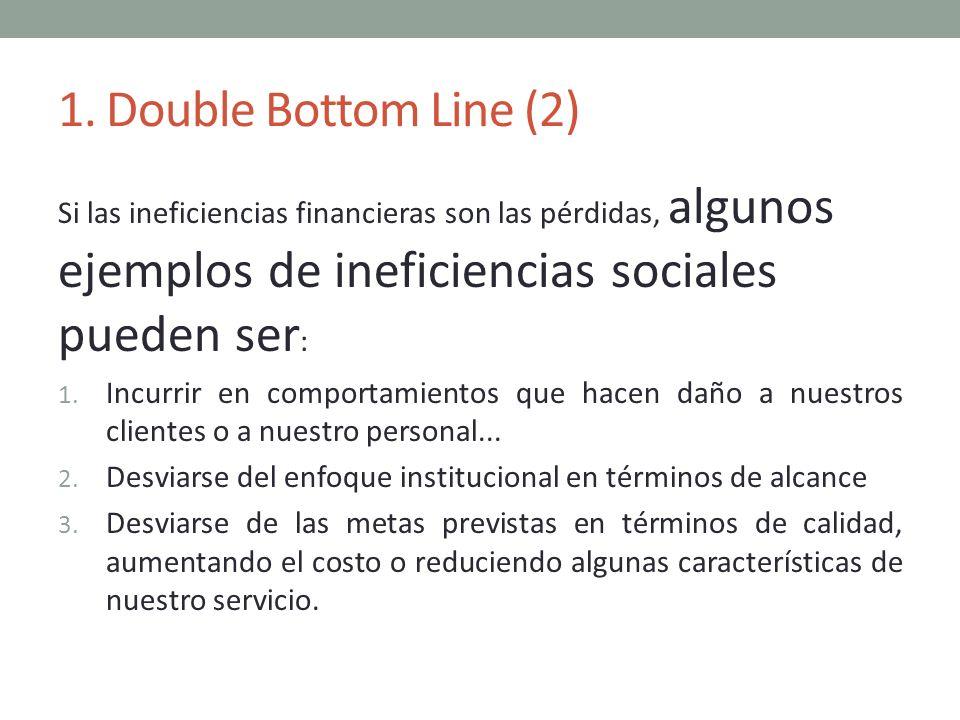 1. Double Bottom Line (2) Si las ineficiencias financieras son las pérdidas, algunos ejemplos de ineficiencias sociales pueden ser : 1. Incurrir en co