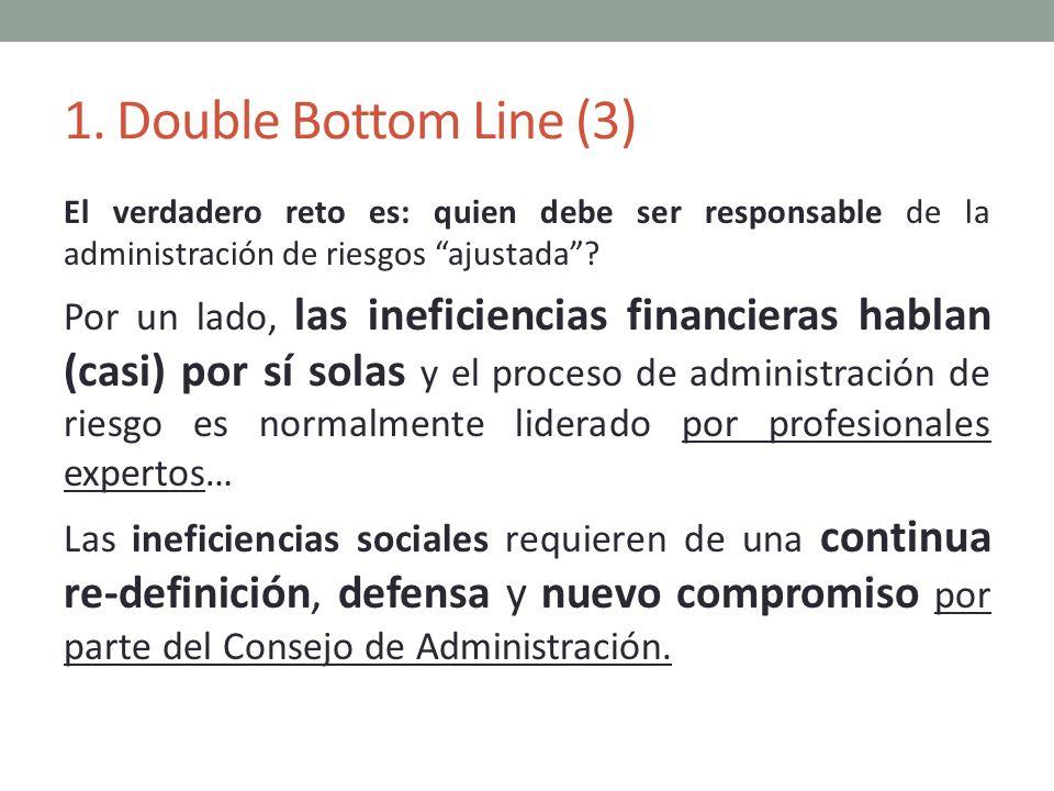 1. Double Bottom Line (3) El verdadero reto es: quien debe ser responsable de la administración de riesgos ajustada? Por un lado, las ineficiencias fi