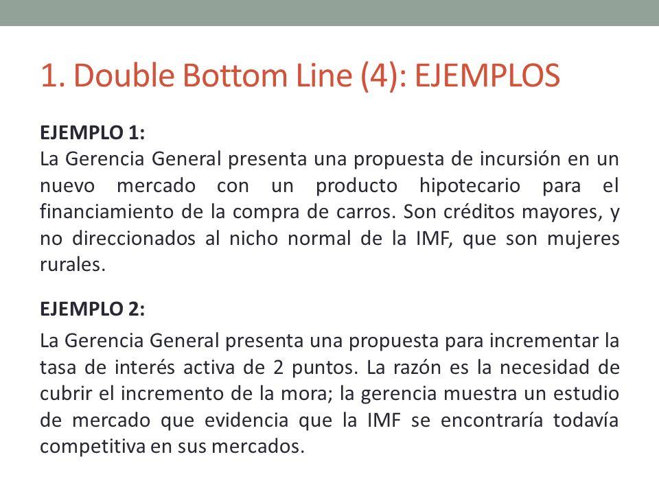 1. Double Bottom Line (4): EJEMPLOS EJEMPLO 1: La Gerencia General presenta una propuesta de incursión en un nuevo mercado con un producto hipotecario