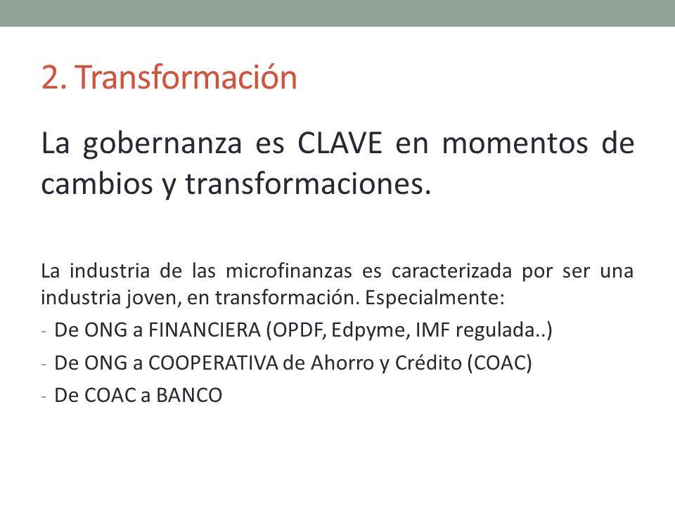 2. Transformación La gobernanza es CLAVE en momentos de cambios y transformaciones. La industria de las microfinanzas es caracterizada por ser una ind