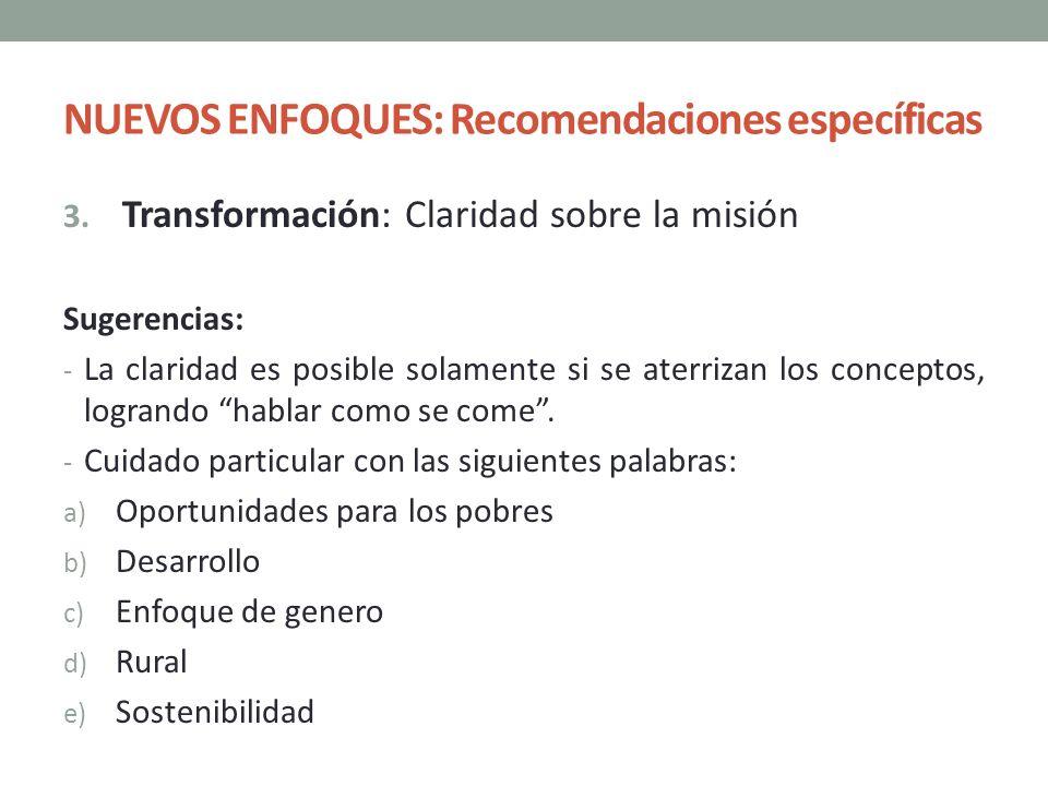 NUEVOS ENFOQUES: Recomendaciones específicas 3. Transformación: Claridad sobre la misión Sugerencias: - La claridad es posible solamente si se aterriz