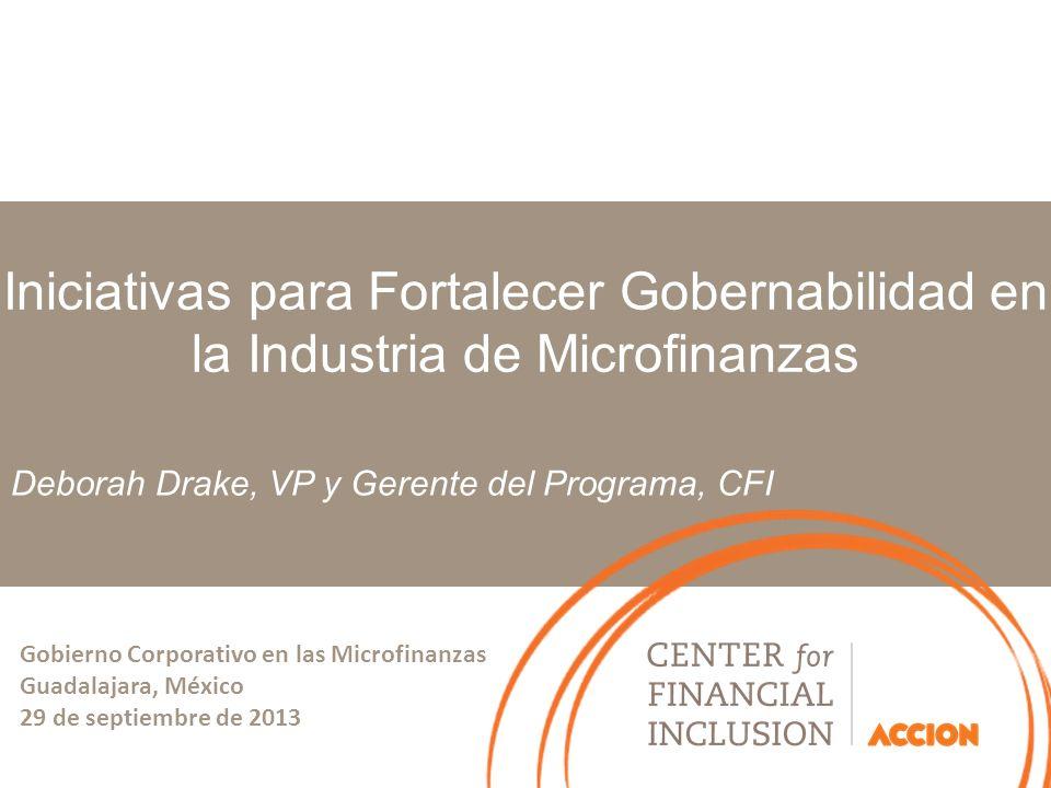 Deborah Drake, VP y Gerente del Programa, CFI Iniciativas para Fortalecer Gobernabilidad en la Industria de Microfinanzas Gobierno Corporativo en las