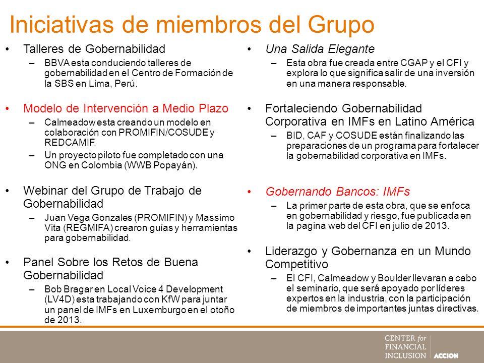 Iniciativas de miembros del Grupo Talleres de Gobernabilidad –BBVA esta conduciendo talleres de gobernabilidad en el Centro de Formación de la SBS en