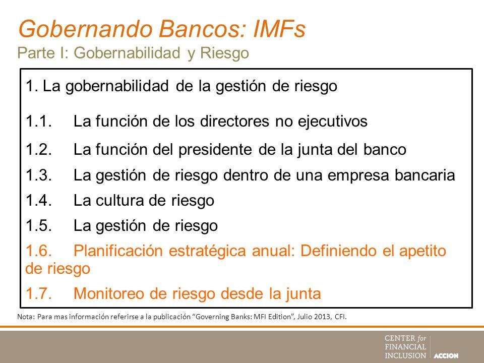 Gobernando Bancos: IMFs Parte I: Gobernabilidad y Riesgo 1. La gobernabilidad de la gestión de riesgo 1.1.La función de los directores no ejecutivos 1