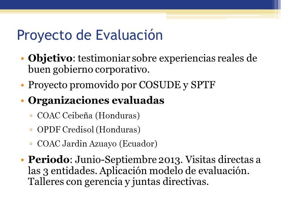 Proyecto de Evaluación Objetivo: testimoniar sobre experiencias reales de buen gobierno corporativo. Proyecto promovido por COSUDE y SPTF Organizacion