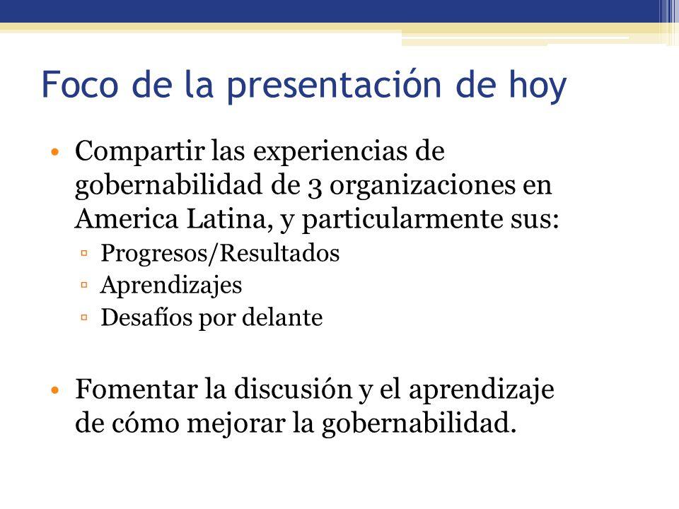 Foco de la presentación de hoy Compartir las experiencias de gobernabilidad de 3 organizaciones en America Latina, y particularmente sus: Progresos/Re