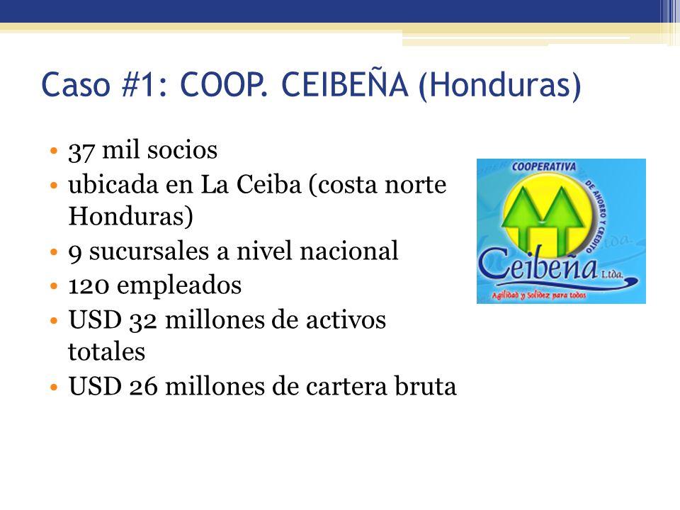 Caso #1: COOP. CEIBEÑA (Honduras) 37 mil socios ubicada en La Ceiba (costa norte Honduras) 9 sucursales a nivel nacional 120 empleados USD 32 millones