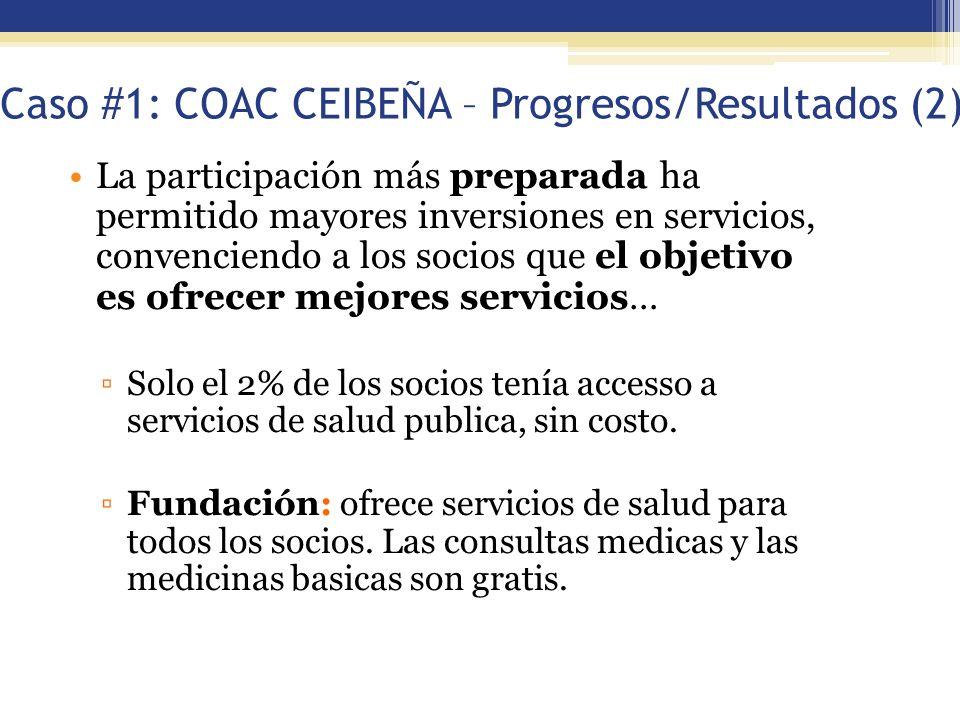 Caso #1: COAC CEIBEÑA – Progresos/Resultados (2) La participación más preparada ha permitido mayores inversiones en servicios, convenciendo a los soci
