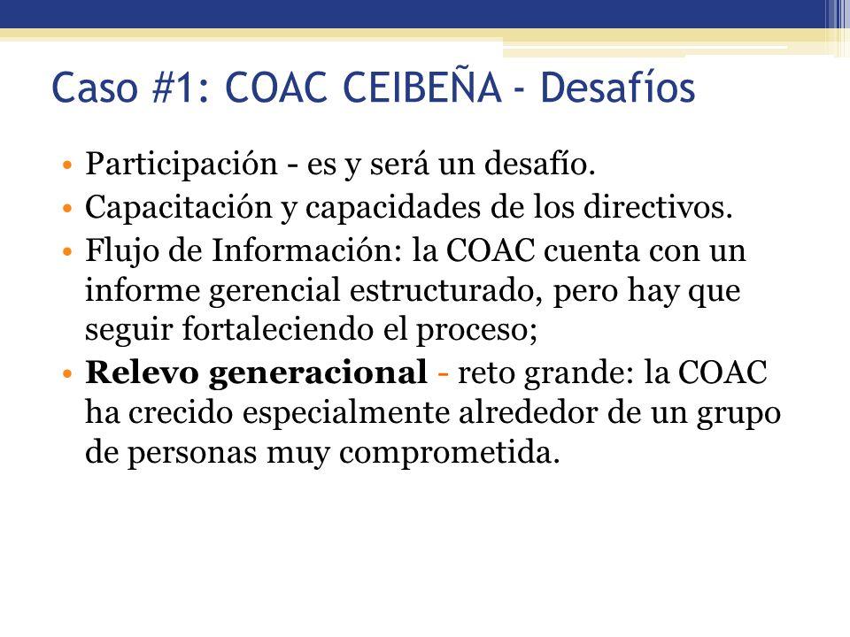 Caso #1: COAC CEIBEÑA - Desafíos Participación - es y será un desafío. Capacitación y capacidades de los directivos. Flujo de Información: la COAC cue