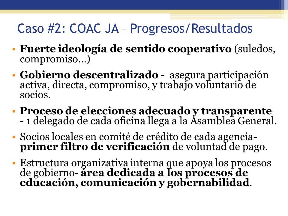 Caso #2: COAC JA – Progresos/Resultados Fuerte ideología de sentido cooperativo (suledos, compromiso…) Gobierno descentralizado - asegura participació