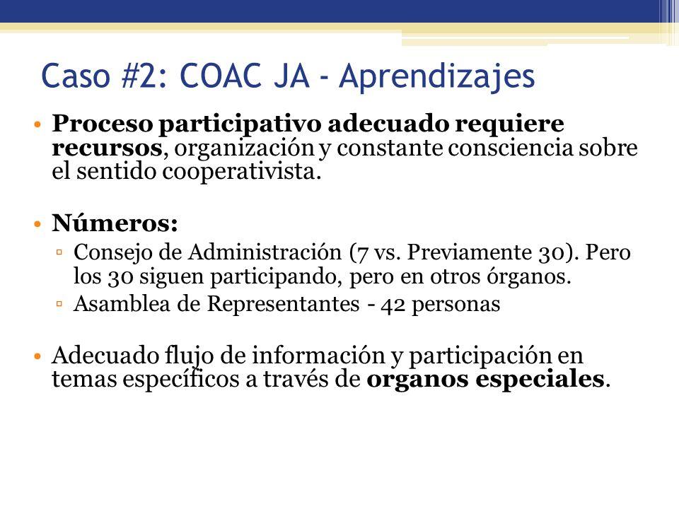 Caso #2: COAC JA - Aprendizajes Proceso participativo adecuado requiere recursos, organización y constante consciencia sobre el sentido cooperativista