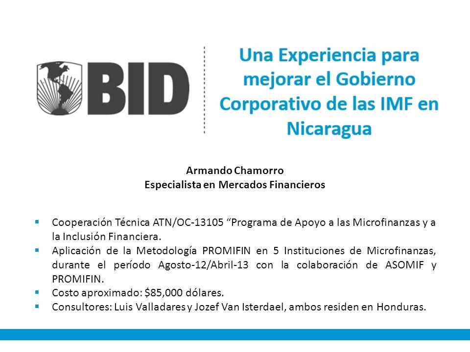 Cooperación Técnica ATN/OC-13105 Programa de Apoyo a las Microfinanzas y a la Inclusión Financiera. Aplicación de la Metodología PROMIFIN en 5 Institu