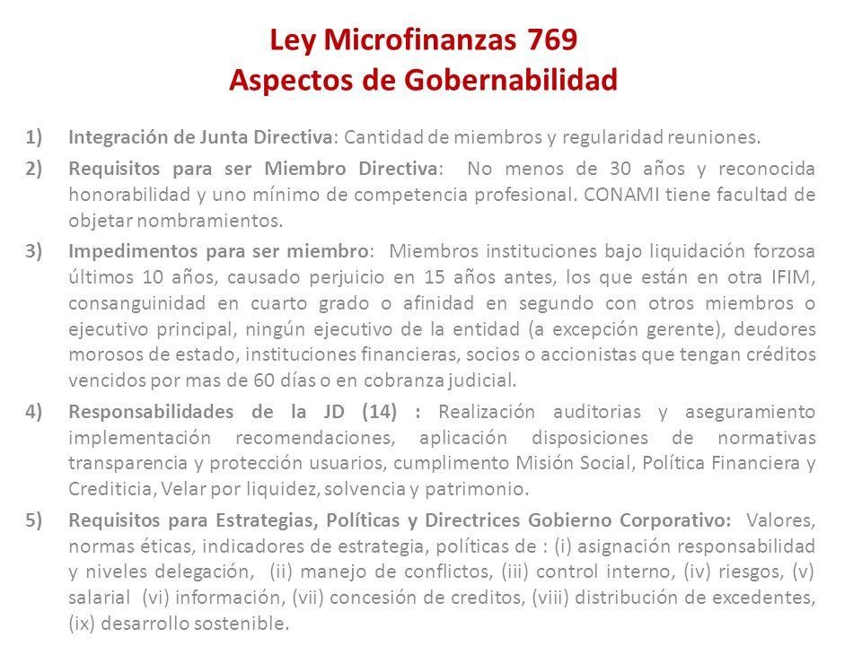 Ley Microfinanzas 769 Aspectos de Gobernabilidad 1)Integración de Junta Directiva: Cantidad de miembros y regularidad reuniones. 2)Requisitos para ser