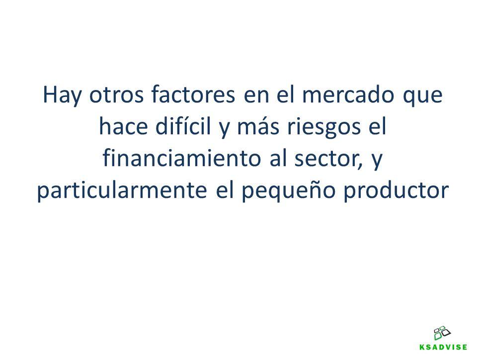 Hay otros factores en el mercado que hace difícil y más riesgos el financiamiento al sector, y particularmente el pequeño productor