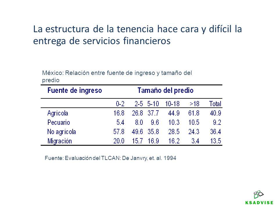 La estructura de la tenencia hace cara y difícil la entrega de servicios financieros Fuente: Evaluación del TLCAN: De Janvry, et. al. 1994 México: Rel