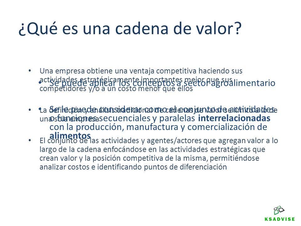 ¿Qué es una cadena de valor? Una empresa obtiene una ventaja competitiva haciendo sus actividades estratégicamente importantes mejor que sus competido