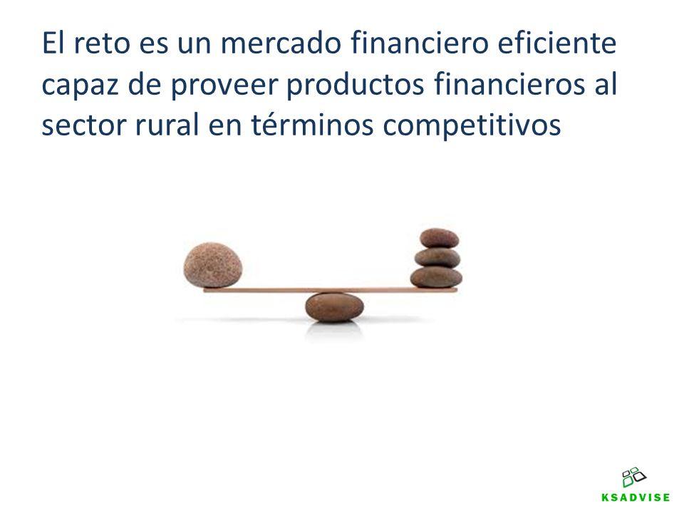 El reto es un mercado financiero eficiente capaz de proveer productos financieros al sector rural en términos competitivos