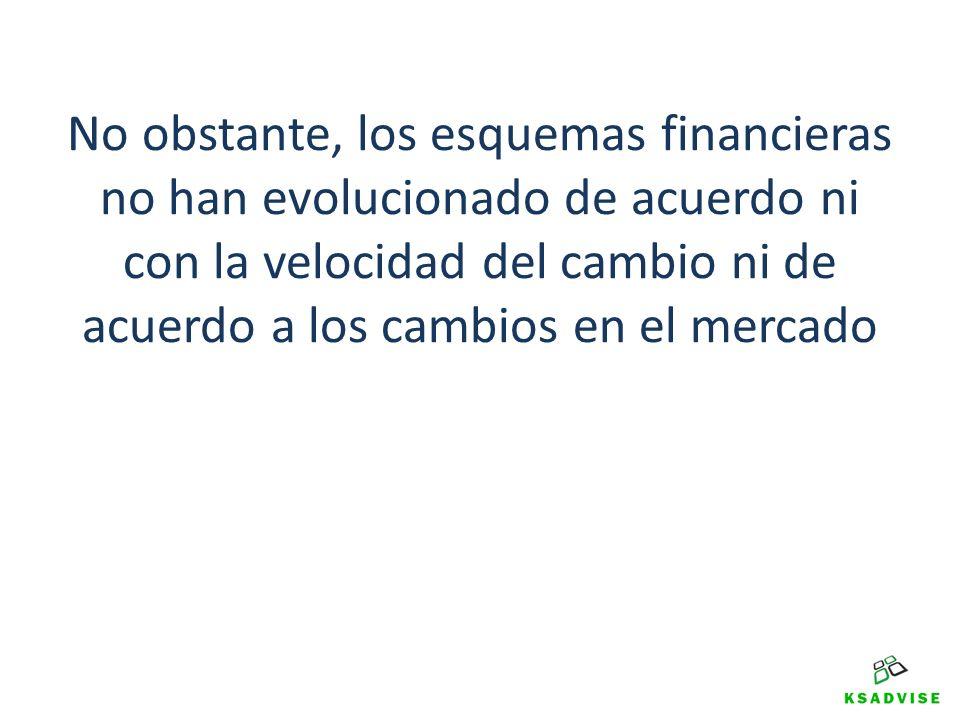 No obstante, los esquemas financieras no han evolucionado de acuerdo ni con la velocidad del cambio ni de acuerdo a los cambios en el mercado